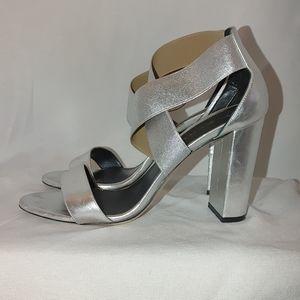 M. Gemi Aria Silver Crisscross Style Block Heel